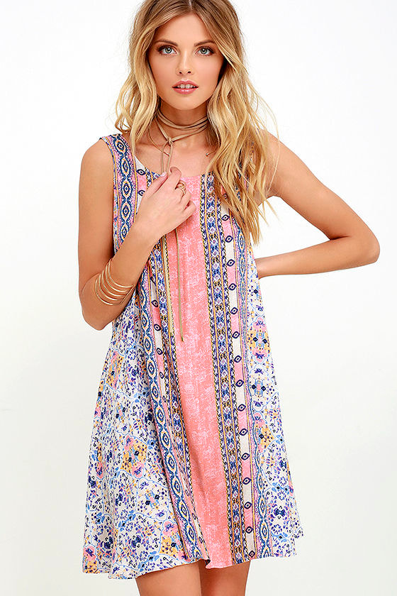Whisk Me Away Coral Pink Print Swing Dress 1