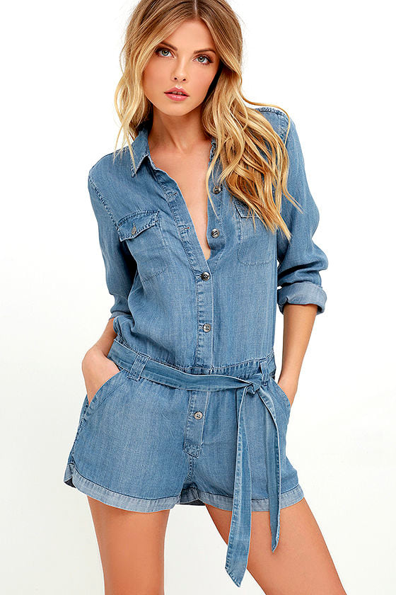 A collection of chic denim rompers and jumpsuits is just what you've been looking for, and Shopbop has you covered. Our denim rompers and jumpsuits boutique includes a wide array of styles to help you find the perfect piece.