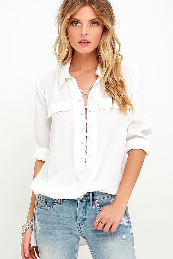 You Know It Ivory Long Sleeve Lace-Up Top 1