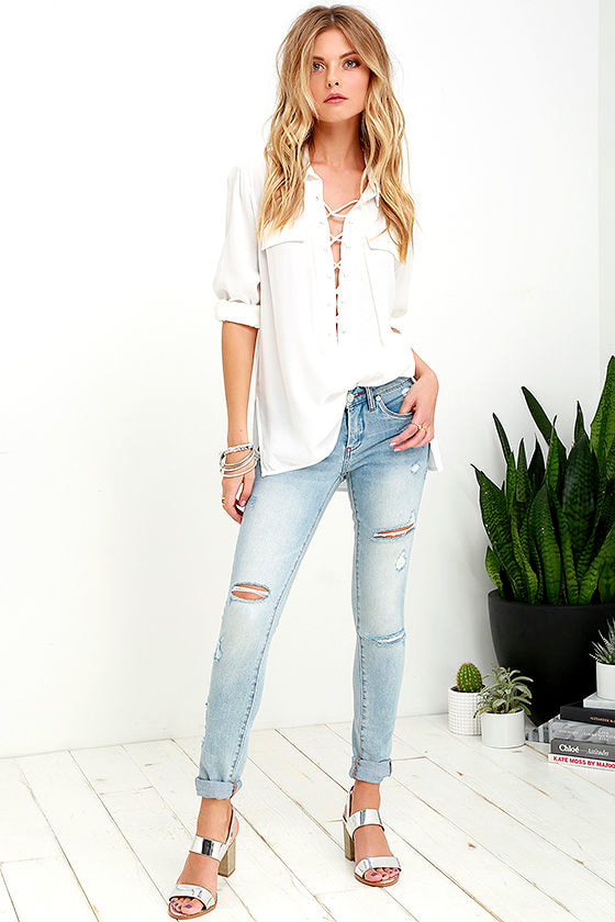You Know It Ivory Long Sleeve Lace-Up Top 3