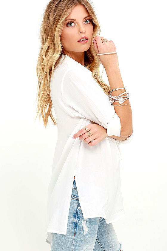 You Know It Ivory Long Sleeve Lace-Up Top 4