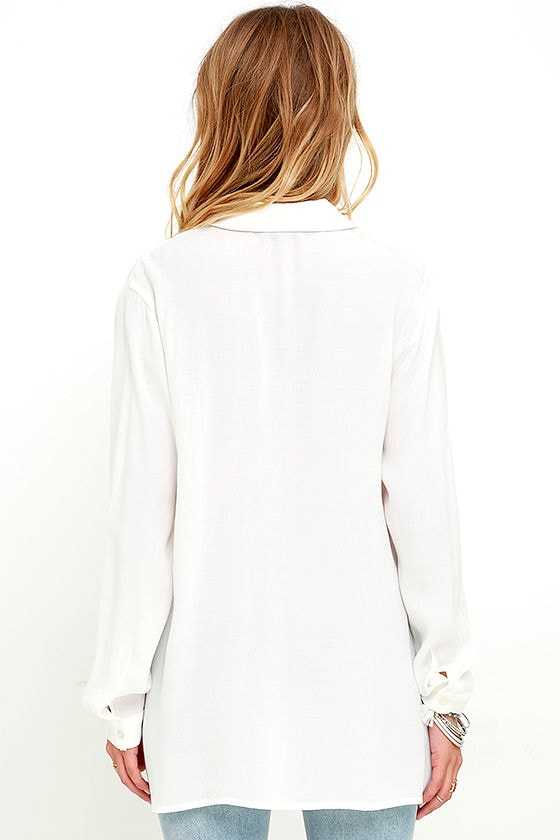 You Know It Ivory Long Sleeve Lace-Up Top 5