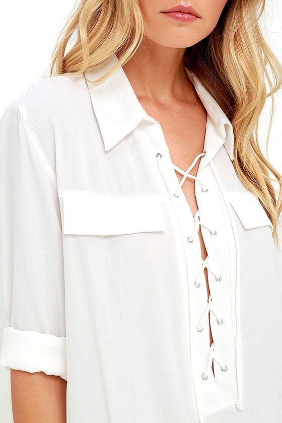 You Know It Ivory Long Sleeve Lace-Up Top 6
