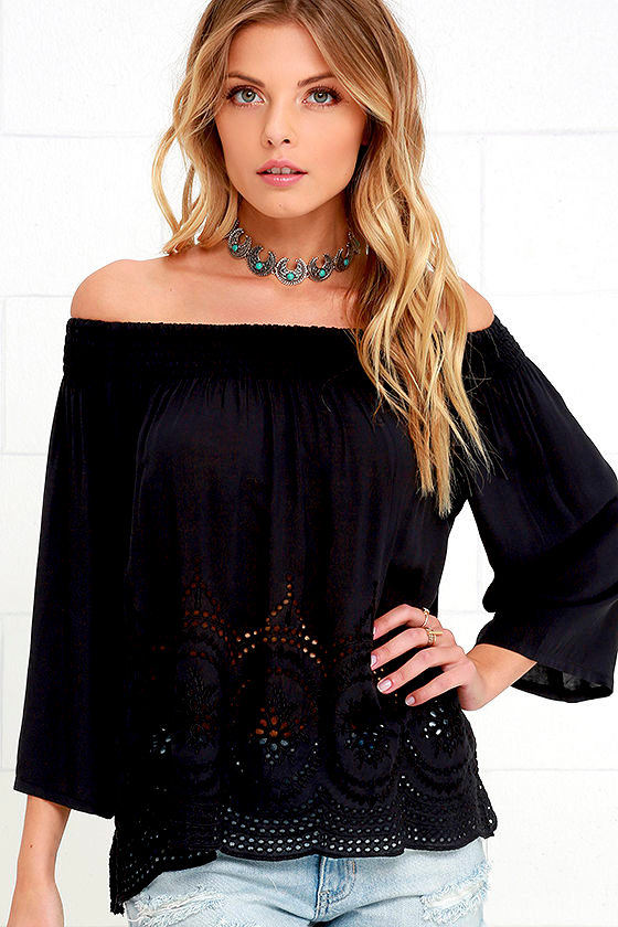 9d0184609a03b3 Chic Black Top - Off-the-Shoulder Top - Lace Top - Embroidered Top - $59.00