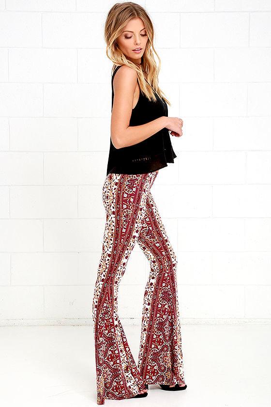 d6175805e4 Boho Flare Pants - Burgundy Pants - Floral Print Pants -  36.00