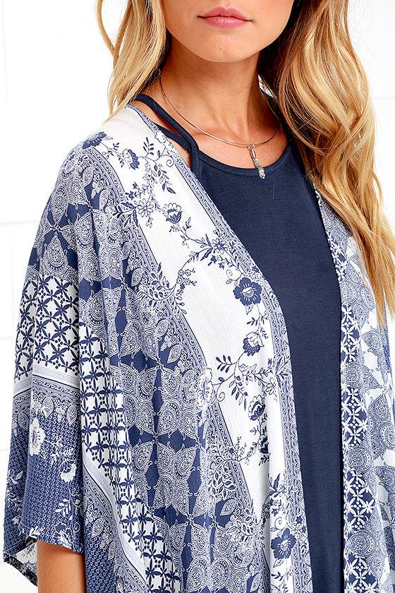 Pretty Ivory and Blue Kimono - Print Kimono - Kimono Top ...