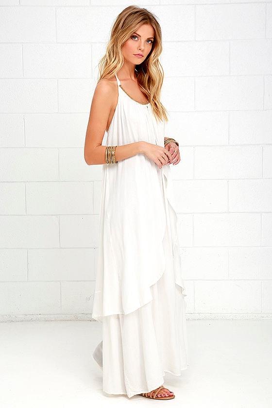 986e36f24d Stunning Ivory Dress - Beaded Dress - Halter Dress - Maxi Dress - $69.00