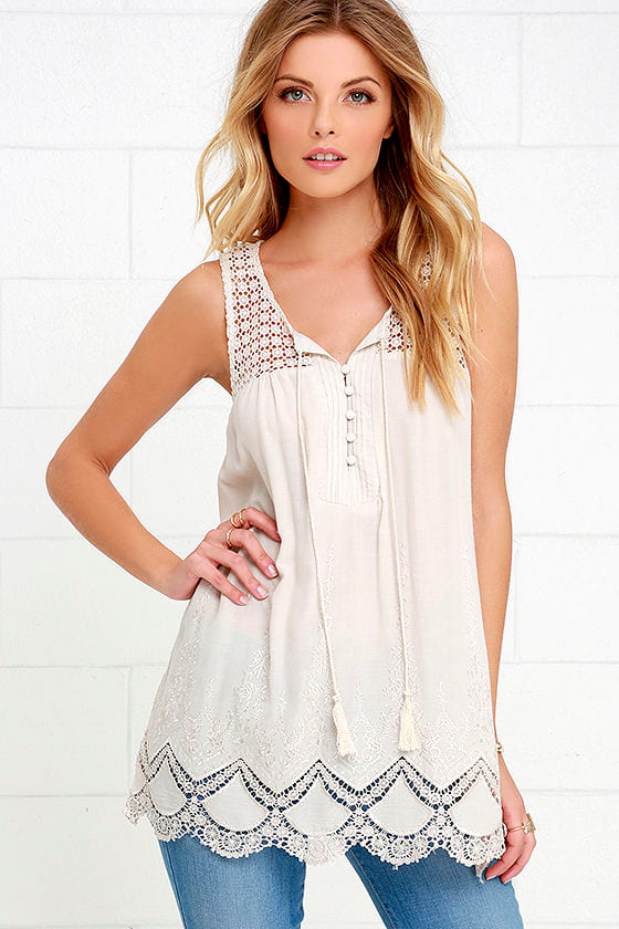 9e75a5d1ba645 Boho Light Beige Top - Lace Top - Embroidered Top -  58.00