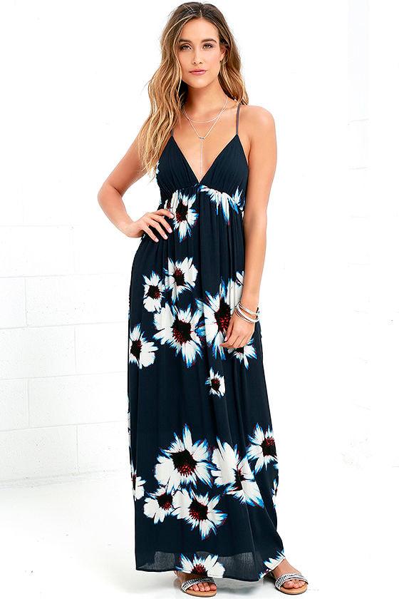 Navy Blue Dress Maxi Dress Backless Dress Floral Print Dress