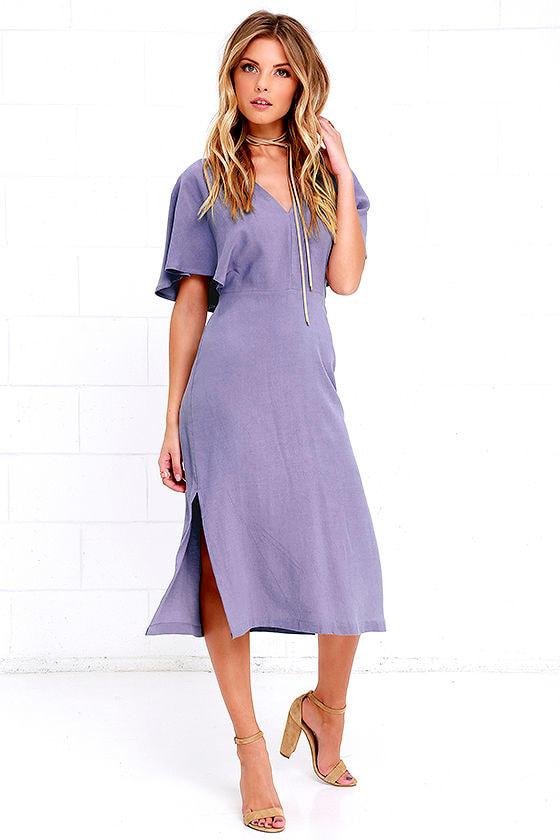 bf7448d74014 Gorgeous Dusty Purple Dress - Cape Sleeve Dress - Midi Dress -  58.00