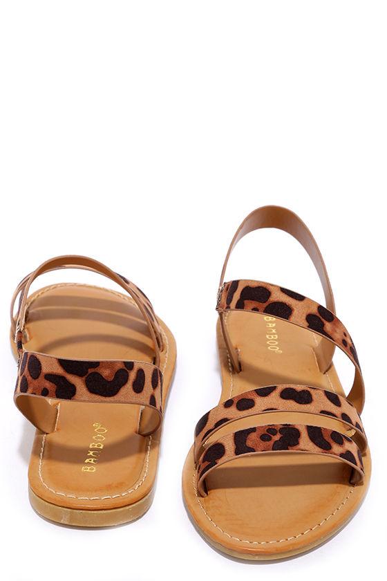 7d9d07f07e61 Fun Leopard Print Sandals - Vegan Leather Sandals - $18.00