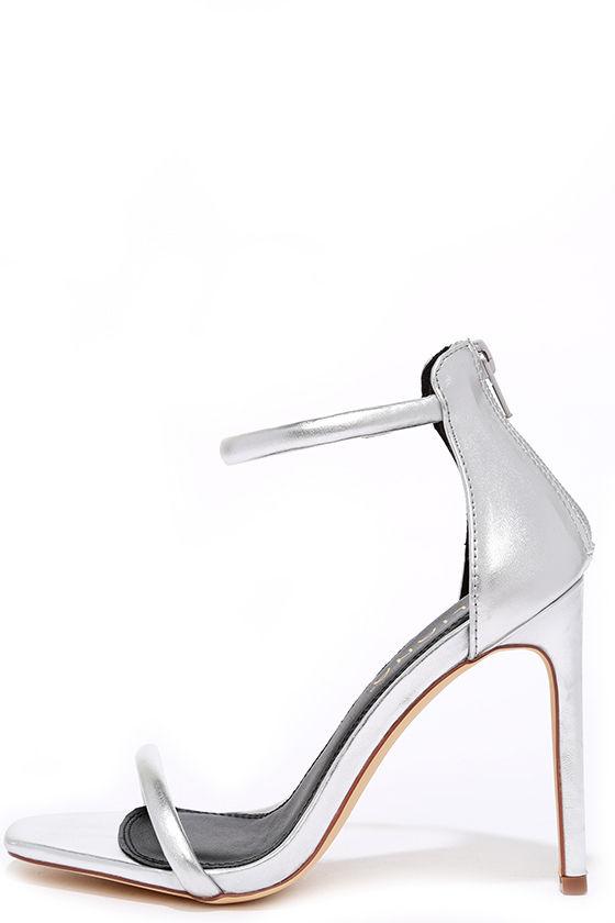 Pretty Silver Heels - Ankle Strap Heels - Metallic Heels - $28.00