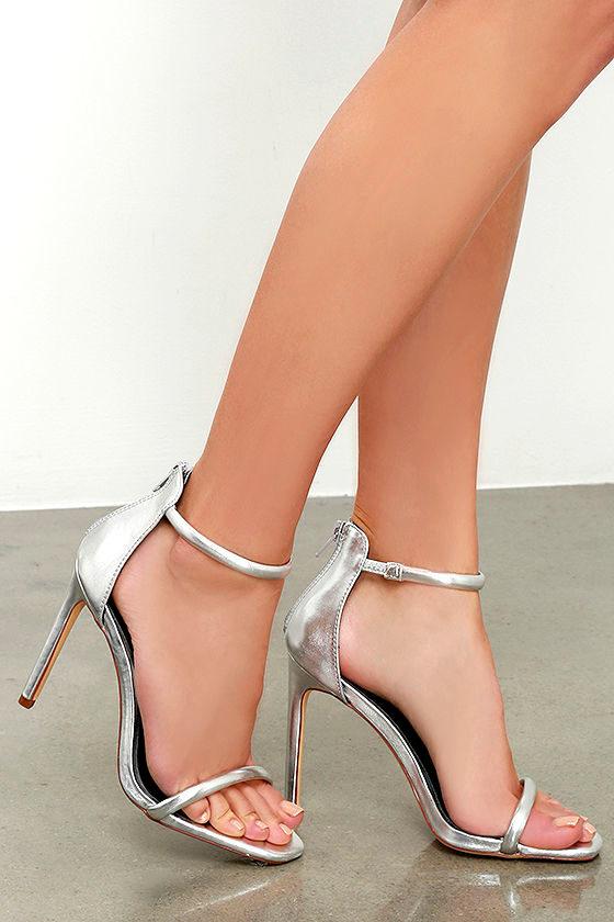 Pretty Silver Heels - Ankle Strap Heels - Metallic Heels ...