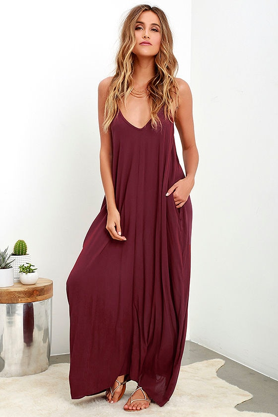Boho Maxi Dress - Casual Dress - Burgundy Dress - $56.00