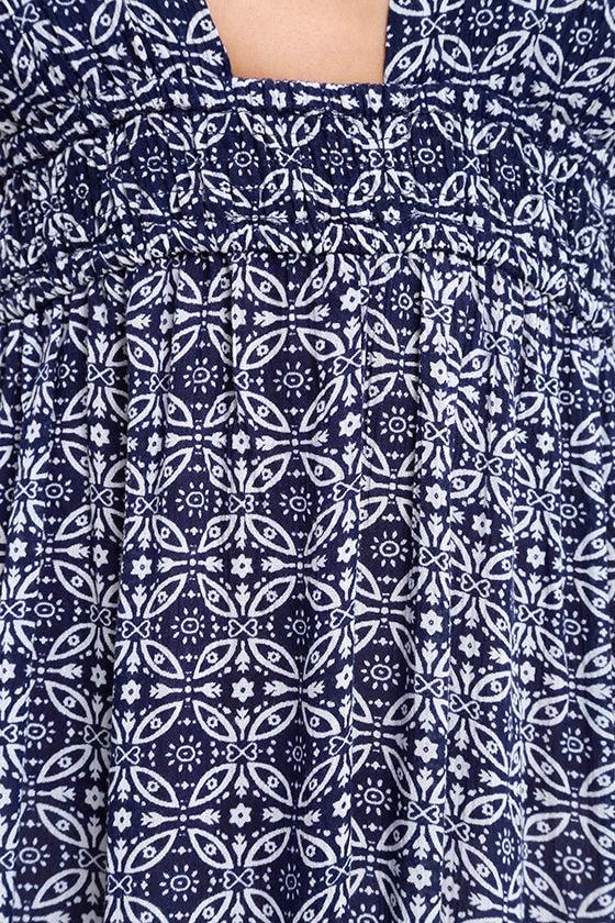 Field Day Navy Blue Print Maxi Dress 6