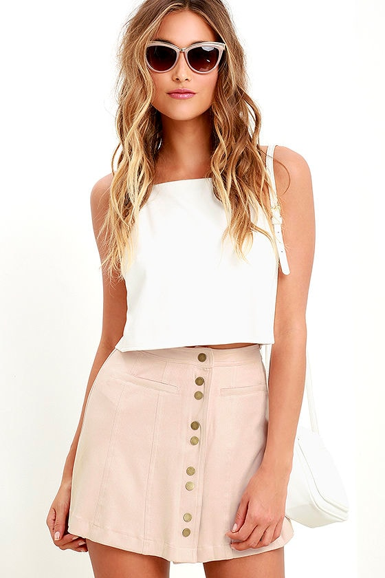 Time and Pace Pale Blush Suede Skirt at Lulus.com!