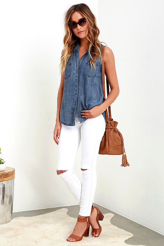 Courtesy Collar Blue Chambray Top 2