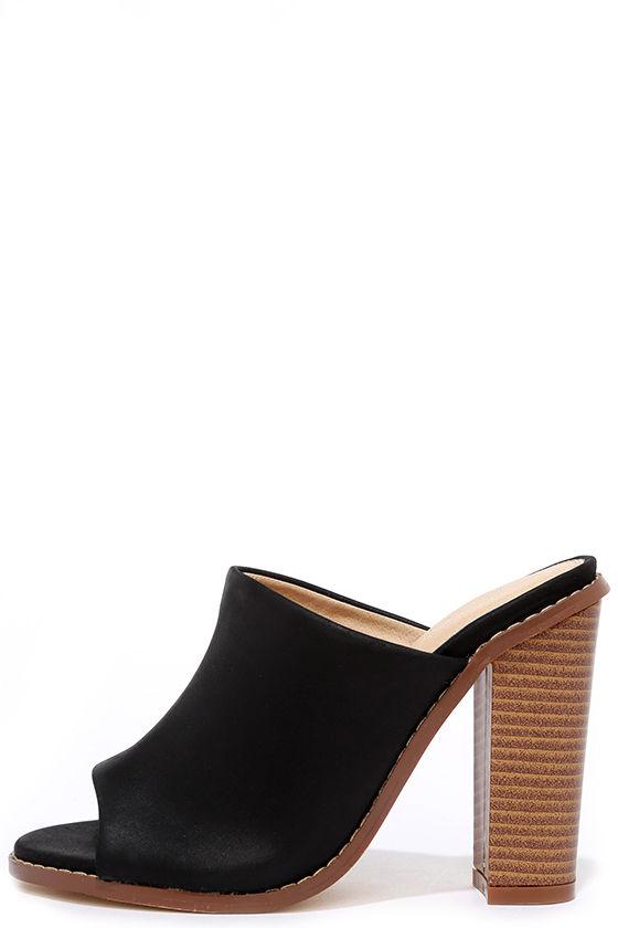 8bdd04eec9f9 Chic Black Mules - Peep-Toe Mules - High Heel Mules -  36.00