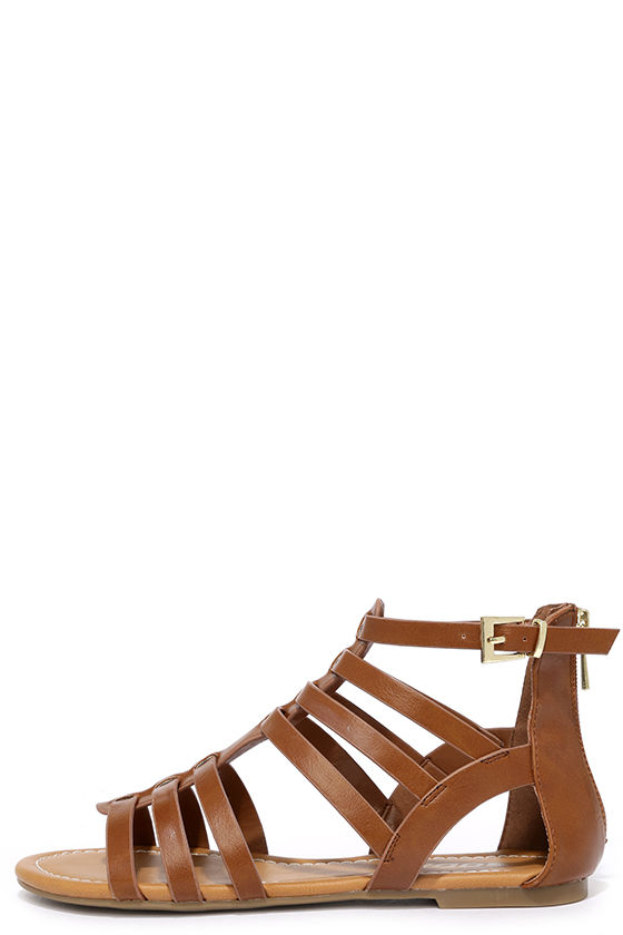c6e4f105bd0a Stylish Tan Sandals - Vegan Leather Sandals - Gladiator Sandals -  22.00