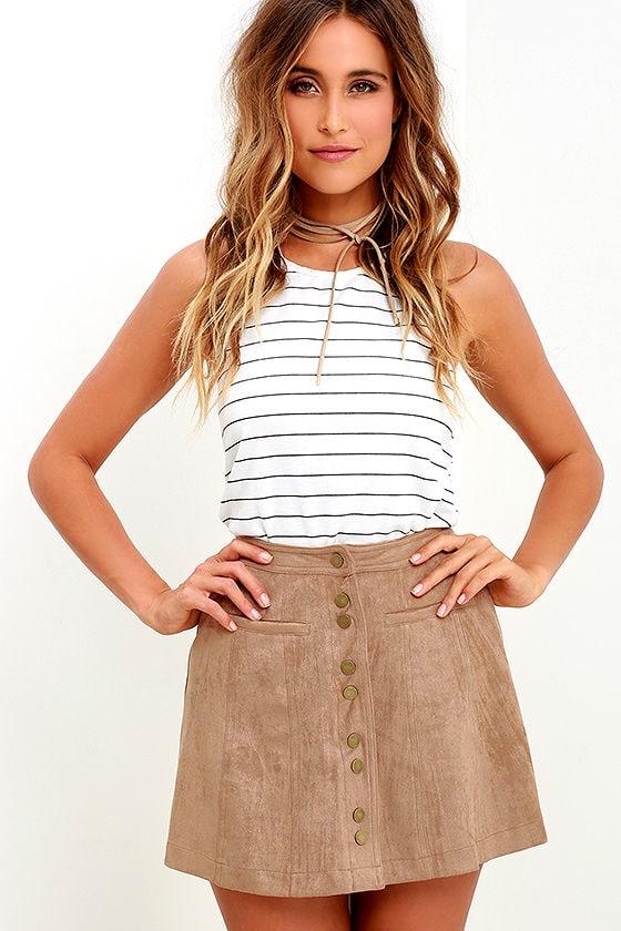 Cute Taupe Skirt - Suede Skirt - Button-Up Skirt - A-Line Skirt ...