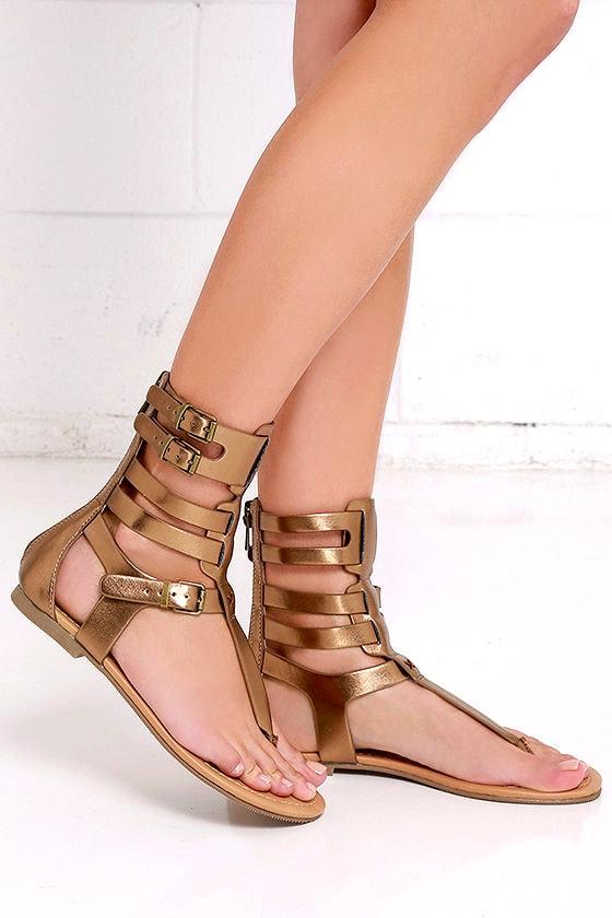 Stylish Bronze Sandals - Metallic Sandals - Gladiator Sandals - $26.00