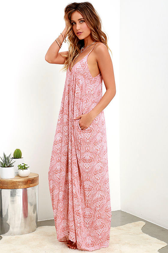 Boho Maxi Dress - Casual Dress - Paisley Print Dress - $68.00