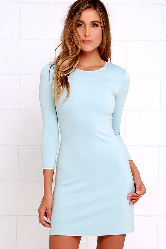 Classic Light Blue Dress - Long Sleeve Dress - A-Line Dress - $48.00