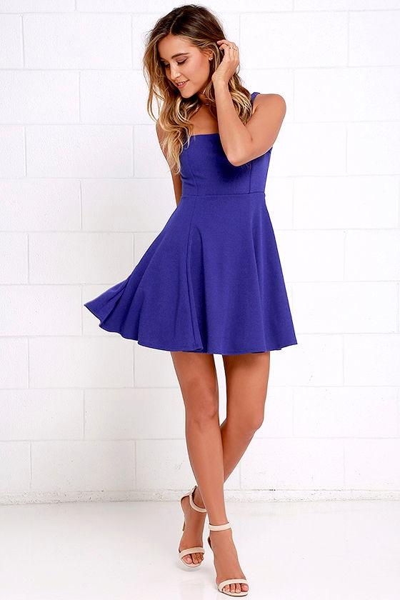 1f8749de83 Let s Get Together Royal Blue Skater Dress