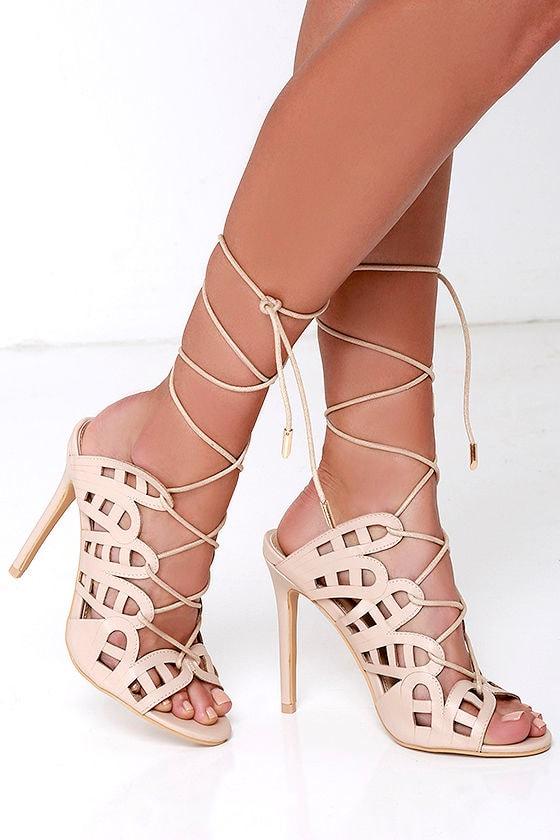 Stylish Beige Heels - Lace-Up Heels - Cutout Heels - Caged Heels ...