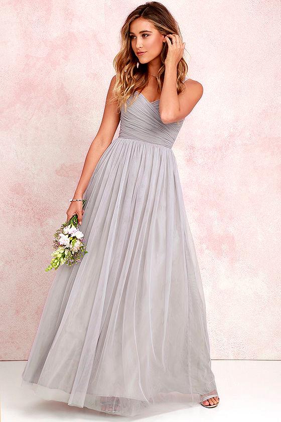 23b3c530edd Pretty Grey Gown - Tulle Gown - Bridal Gown - Maxi Dress -  82.00
