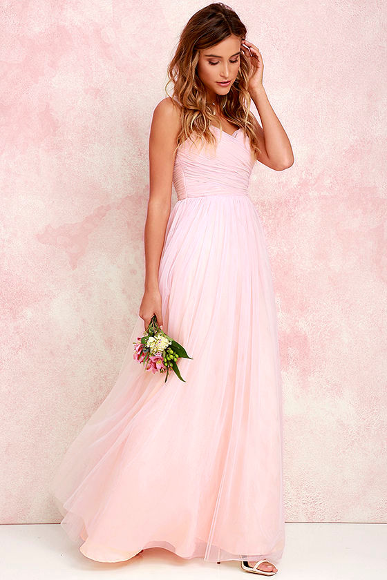 30e5b83065 Pretty Blush Pink Gown - Tulle Gown - Bridal Gown - Maxi Dress -  82.00