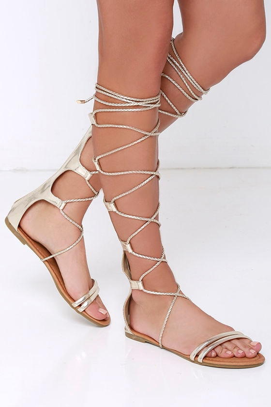 Shiny Gold Sandals Lace Up Sandals Gladiator Sandals