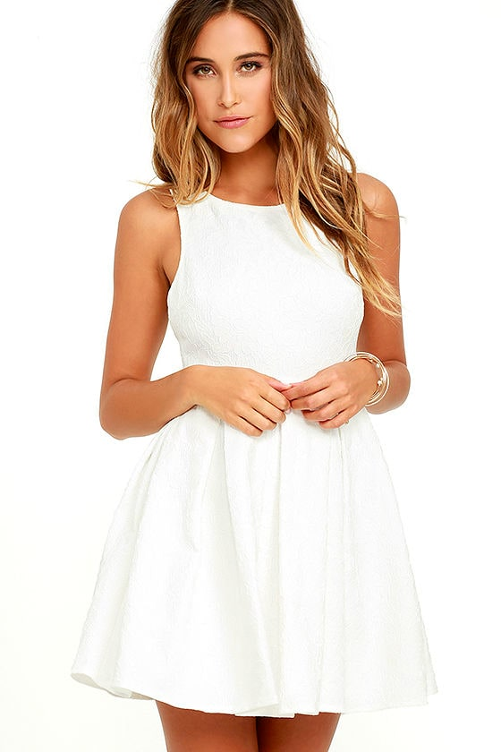 569f3d4bb6 Cute Ivory Dress - Lace Dress - Skater Dress - Fit and Flare Dress -  54.00
