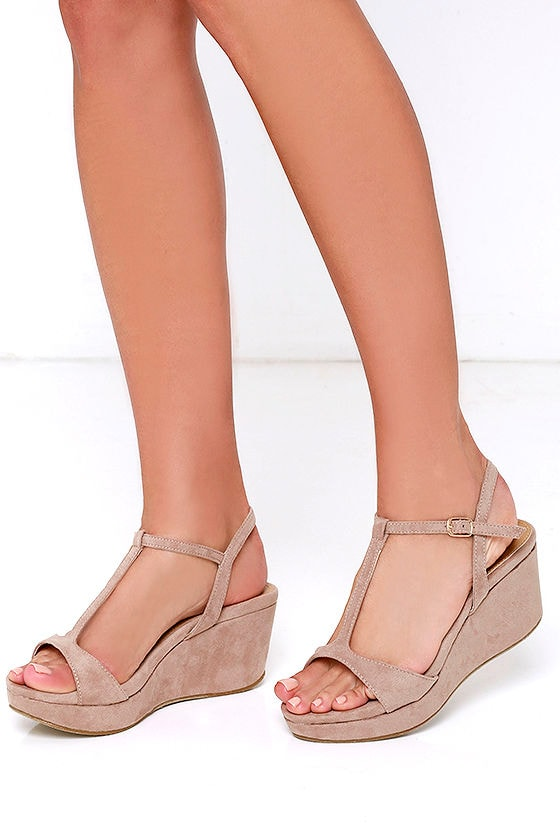 c47d307f81da Chic Nude Wedges - Wedge Sandals - Vegan Suede Wedges -  29.00