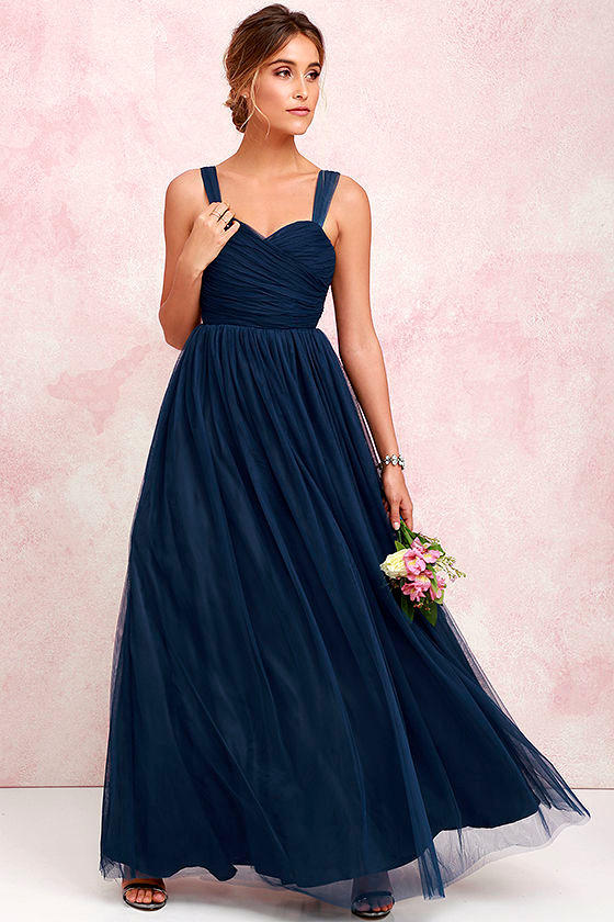 Sunday Kind of Love Navy Blue Tulle Gown 1