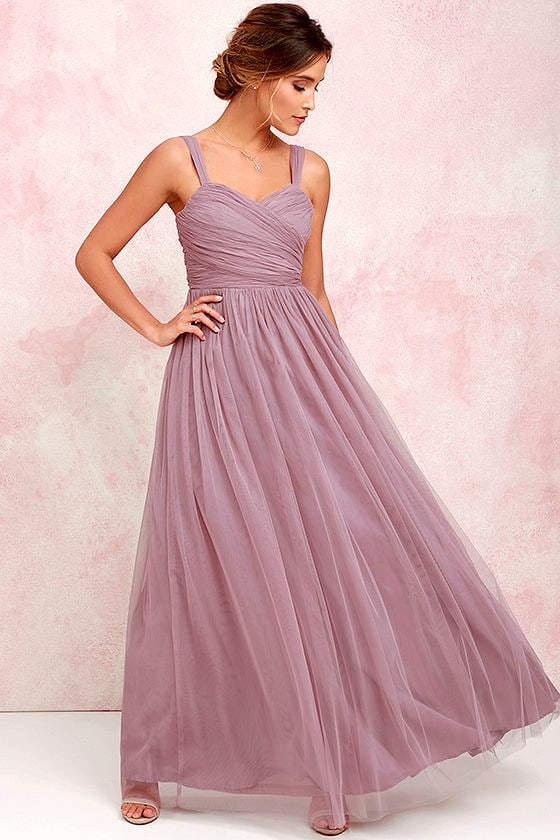 Pretty Mauve Gown Tulle Gown Bridal Gown Maxi Dress