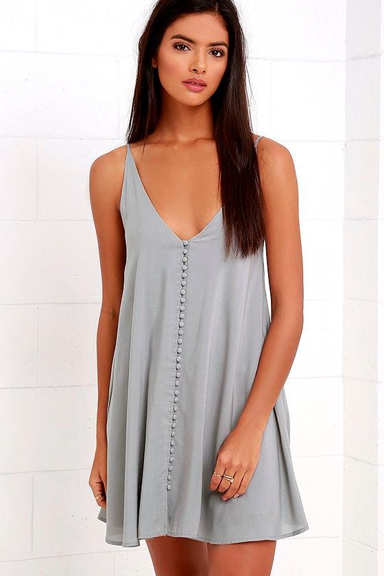 543a4c314078 Breezy Grey Dress - Button-Up Dress - Swing Dress - $49.00