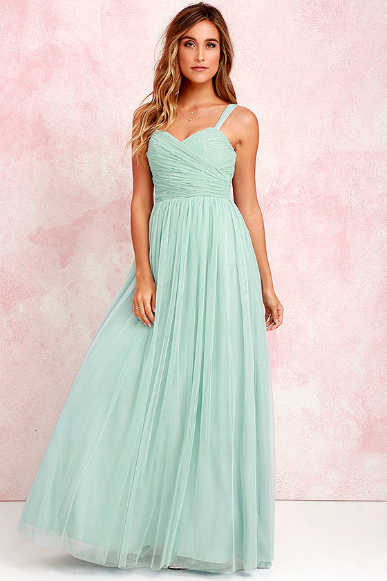 Pretty Seafoam Gown - Tulle Gown - Bridal Gown - Maxi Dress - $82.00