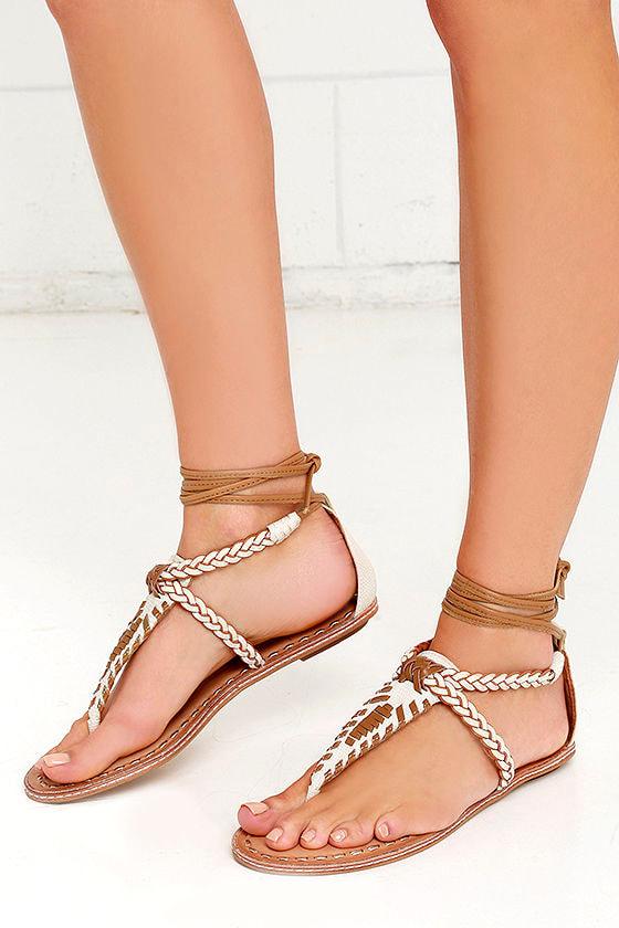 7b62dea219e Dolce Vita Keoni Sandals - Off White Sandals - Lace-Up Sandals -  80.00