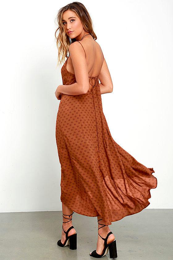 1e9c085d2343 Amuse Society Sakura - Brown Print Dress - Midi Dress -  75.00