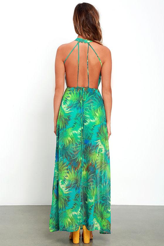 Tropic of Discussion Green Tropical Print Maxi Dress 5