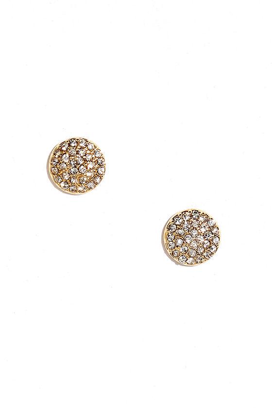 Astronautics Gold Rhinestone Earrings 1
