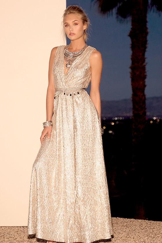 Pretty Gold Dress - Maxi Dress - Metallic Dress - Gilver Dress ...