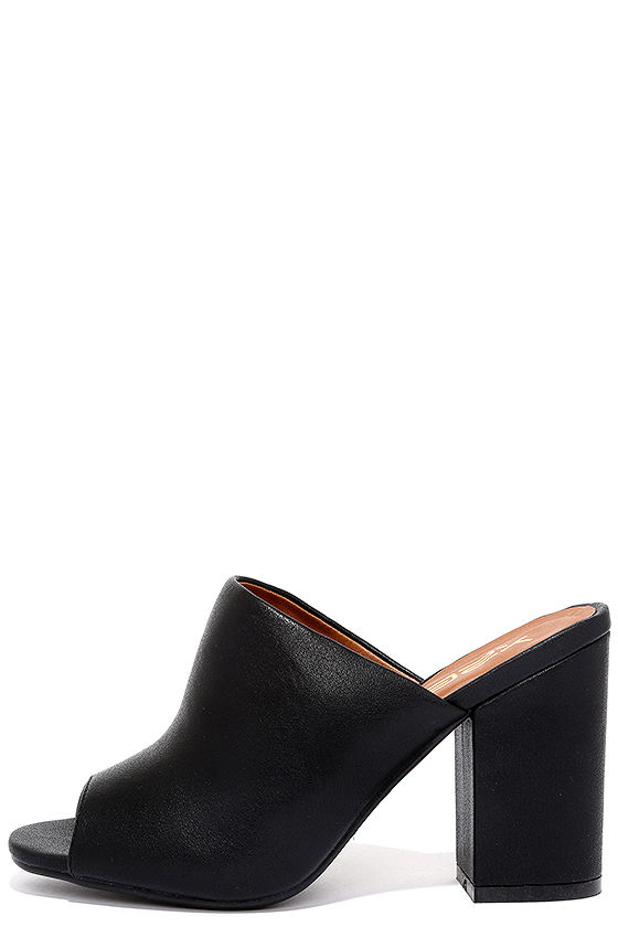 002f7c56be0 Out On the Town Black Peep-Toe Mules