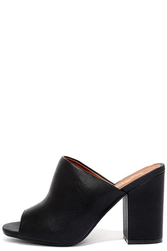 Chic Black Heels - Peep-Toe Mules