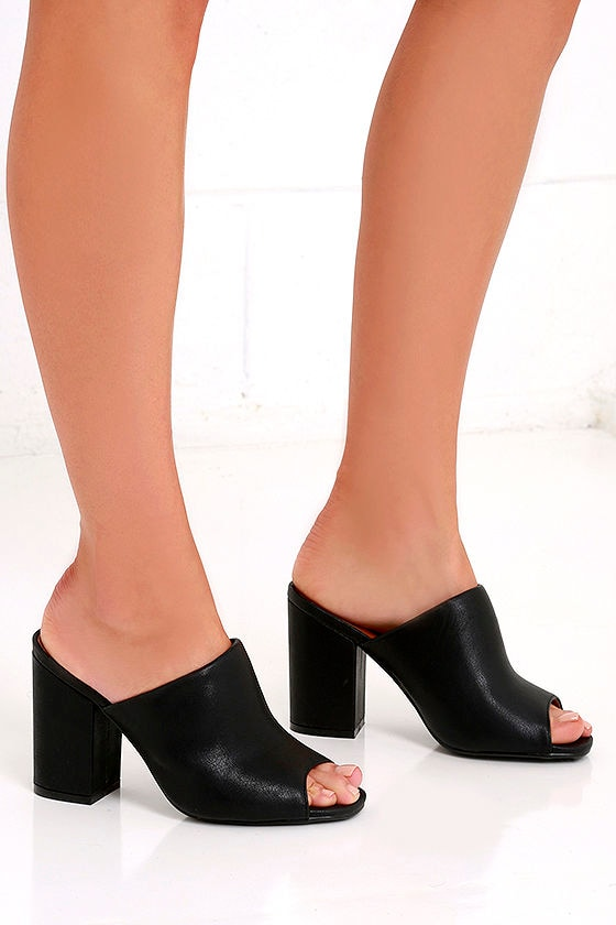 85090d6ad5f Chic Black Heels - Peep-Toe Mules - Peep-Toe Heels -  27.00