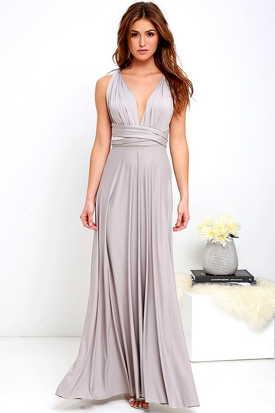 609456a335376 Lovely Light Grey Dress - Convertible Dress - Jersey Knit Maxi - $64.00