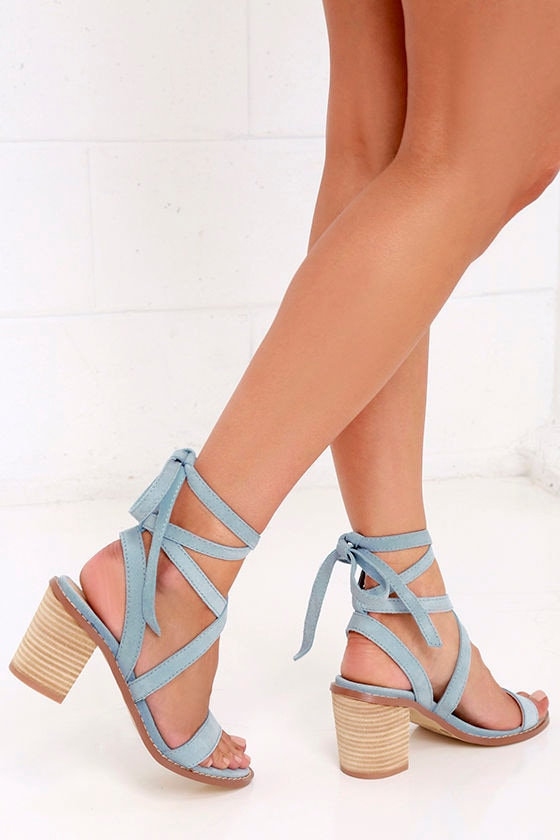 0dc3403046a Chinese Laundry Calvary - Blue Suede Sandals - Lace-Up Sandals -  120.00