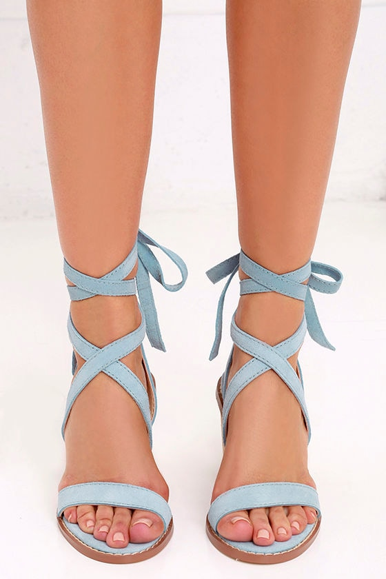 9522cb0f566c8c Chinese Laundry Calvary - Blue Suede Sandals - Lace-Up Sandals -  120.00