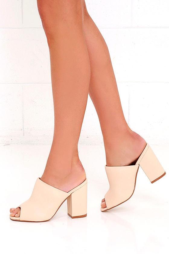 36bf5b9ac64 Chic Beige Heels - Peep-Toe Mules - Peep-Toe Heels -  27.00